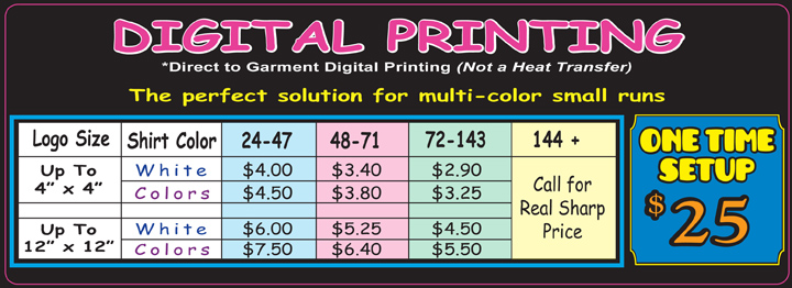 Dtg print pricing for Screen printing shirt prices