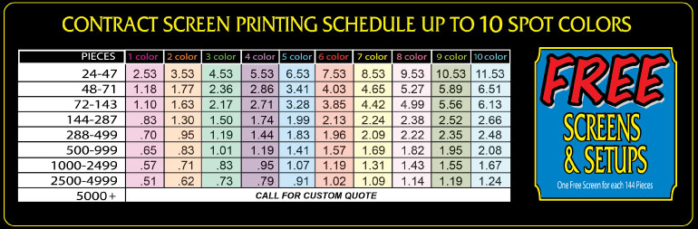 Screen print prices for Cost to screen print t shirts